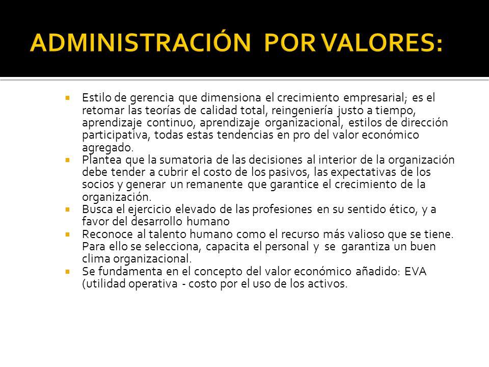ADMINISTRACIÓN POR VALORES: