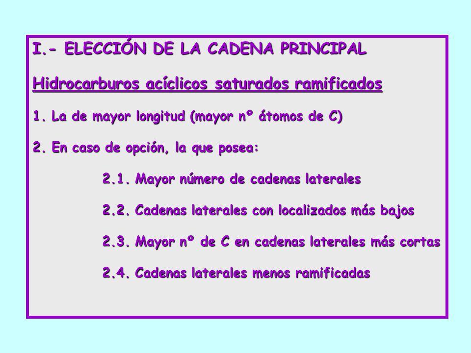 I.- ELECCIÓN DE LA CADENA PRINCIPAL