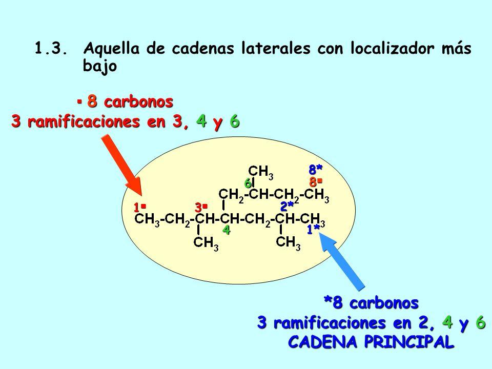 *8 carbonos 3 ramificaciones en 2, 4 y 6 CADENA PRINCIPAL