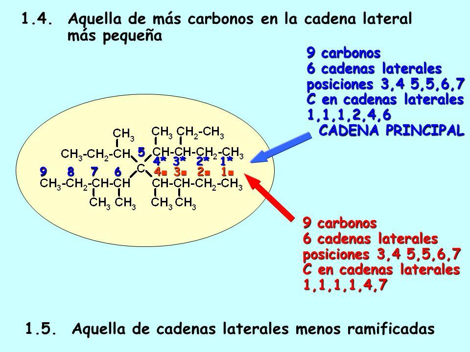 1.4. Aquella de más carbonos en la cadena lateral más pequeña