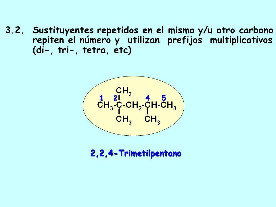 3. 2. Sustituyentes repetidos en el mismo y/u otro carbono