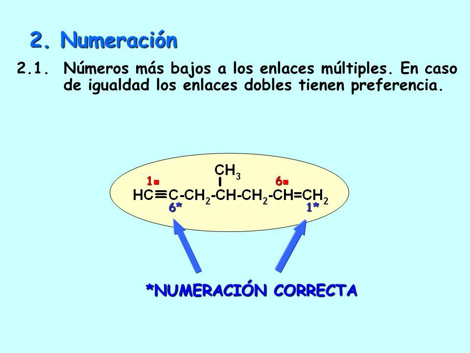 2. Numeración 2.1. Números más bajos a los enlaces múltiples. En caso de igualdad los enlaces dobles tienen preferencia.