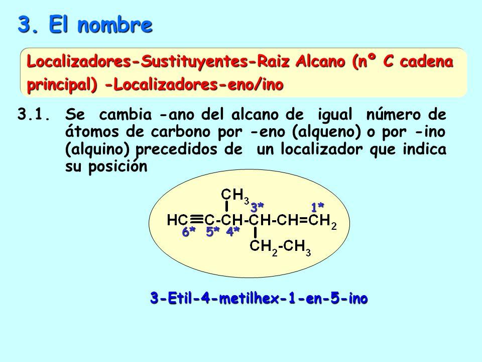 3. El nombre Localizadores-Sustituyentes-Raiz Alcano (nº C cadena principal) -Localizadores-eno/ino.