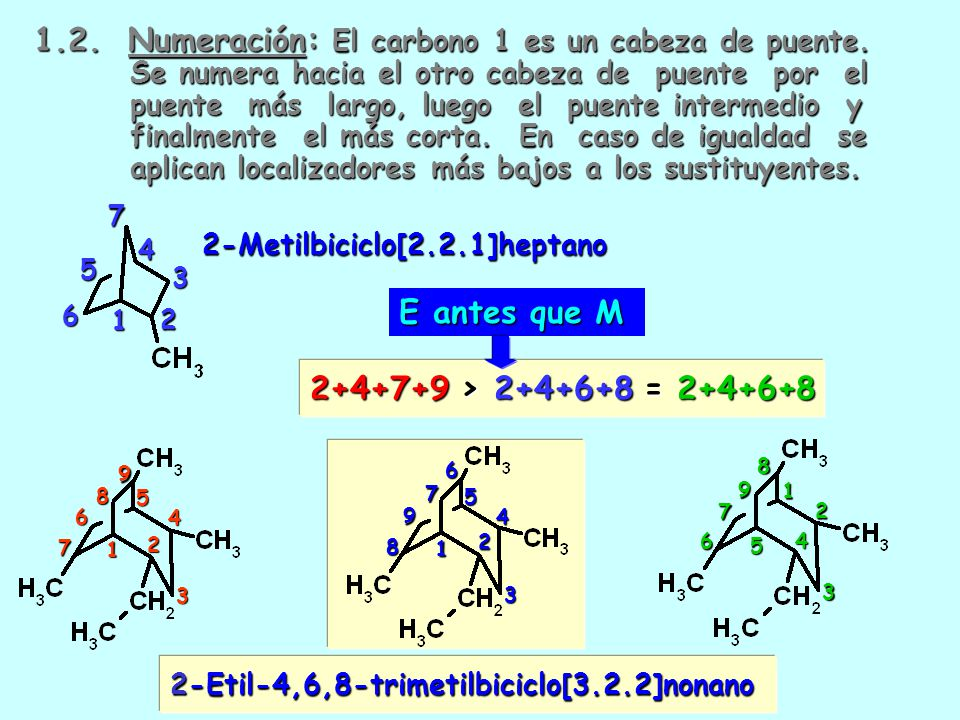 1. 2. Numeración: El carbono 1 es un cabeza de puente