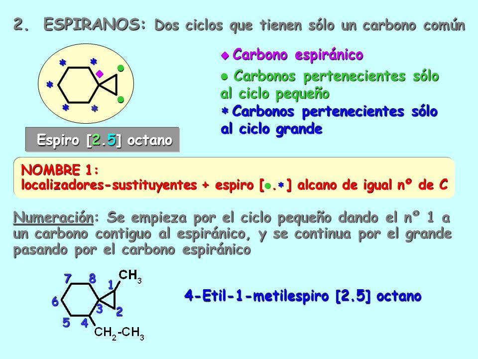 2. ESPIRANOS: Dos ciclos que tienen sólo un carbono común