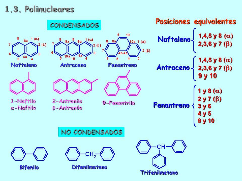 1.3. Polinucleares Posiciones equivalentes Naftaleno Antraceno 9 y 10