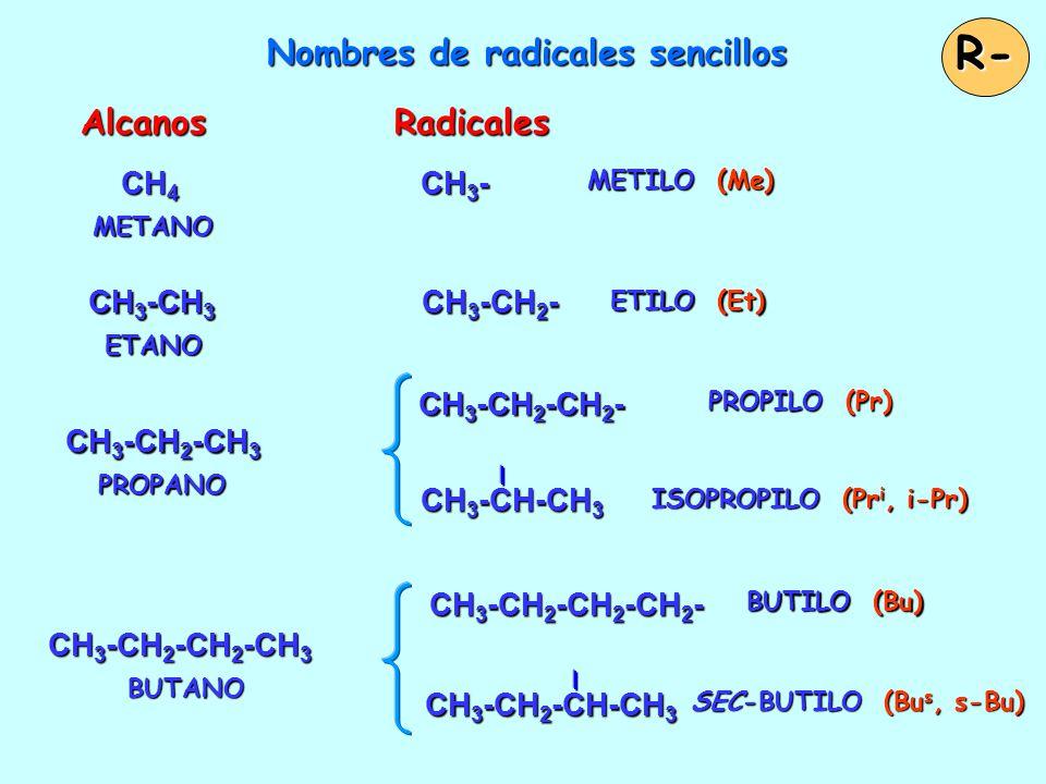 Nombres de radicales sencillos