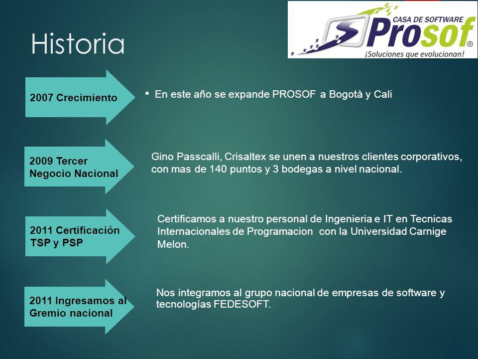 Historia 2007 Crecimiento. En este año se expande PROSOF a Bogotà y Cali. 2009 Tercer. Negocio Nacional.