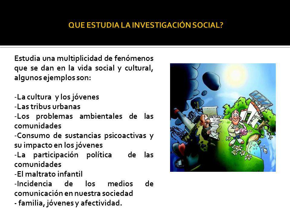 QUE ESTUDIA LA INVESTIGACIÓN SOCIAL