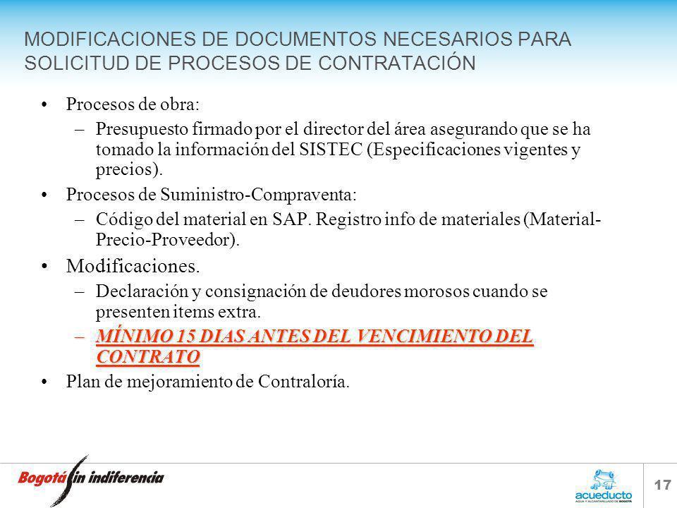 MODIFICACIONES DE DOCUMENTOS NECESARIOS PARA SOLICITUD DE PROCESOS DE CONTRATACIÓN