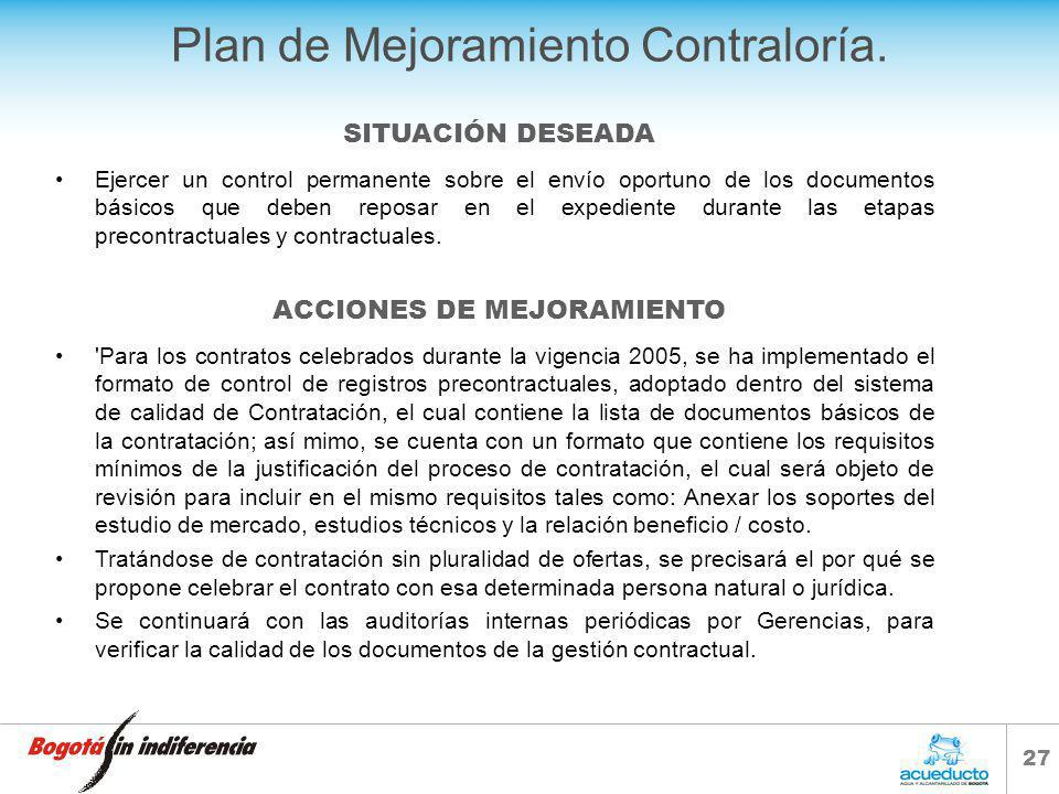 Plan de Mejoramiento Contraloría.