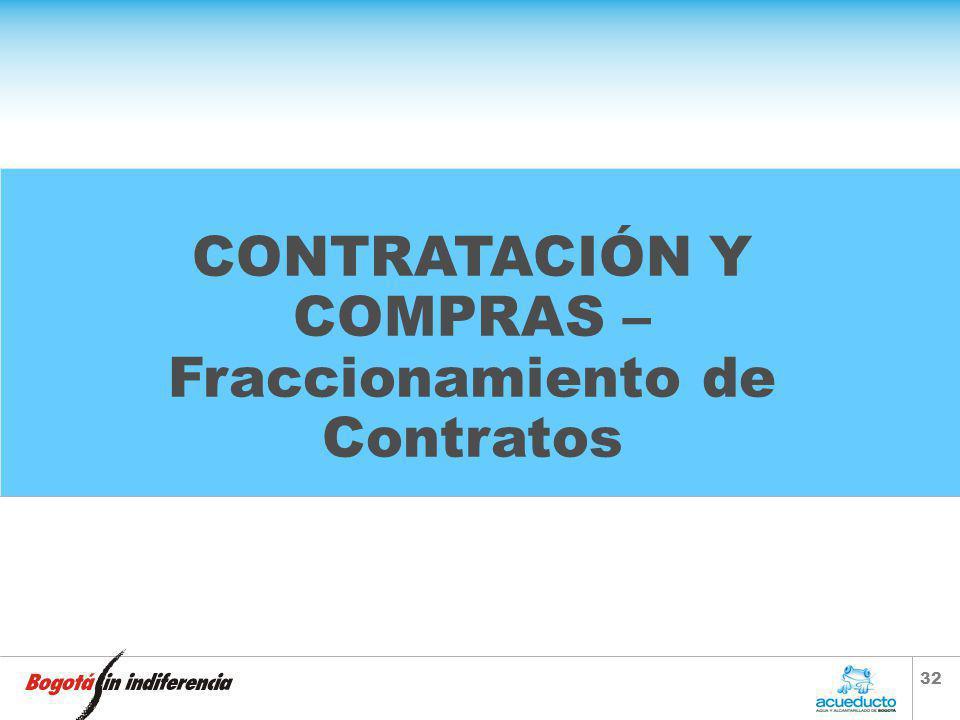 CONTRATACIÓN Y COMPRAS –Fraccionamiento de Contratos