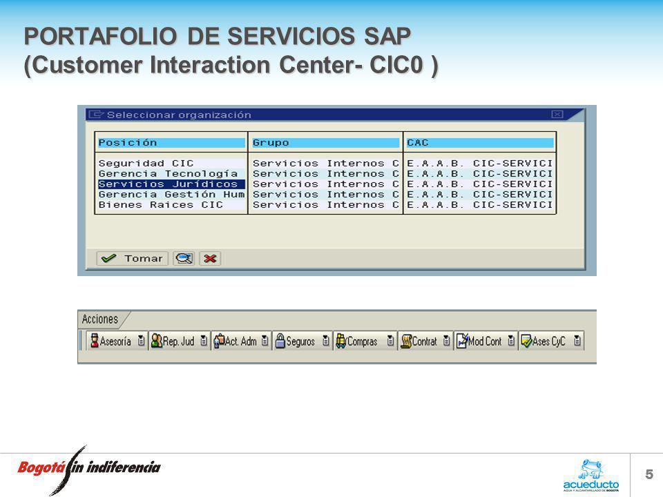 PORTAFOLIO DE SERVICIOS SAP (Customer Interaction Center- CIC0 )