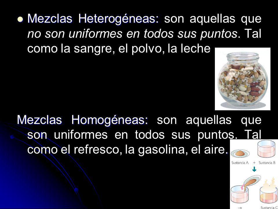 Mezclas Heterogéneas: son aquellas que no son uniformes en todos sus puntos. Tal como la sangre, el polvo, la leche