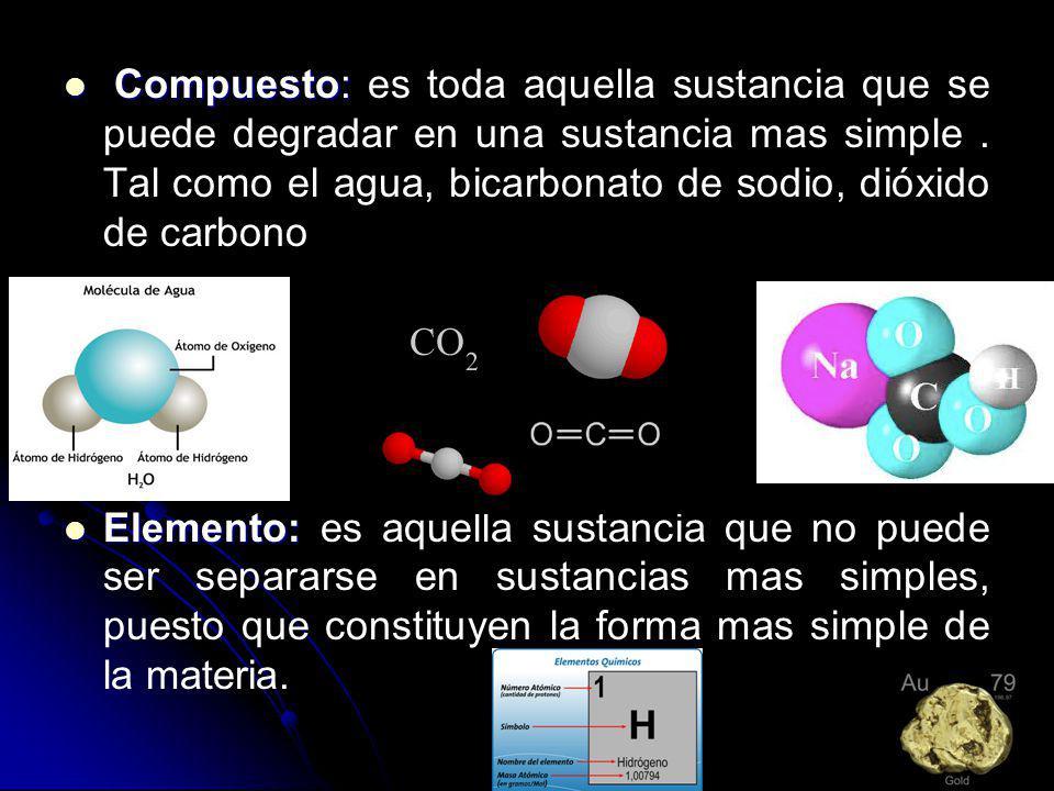Compuesto: es toda aquella sustancia que se puede degradar en una sustancia mas simple . Tal como el agua, bicarbonato de sodio, dióxido de carbono