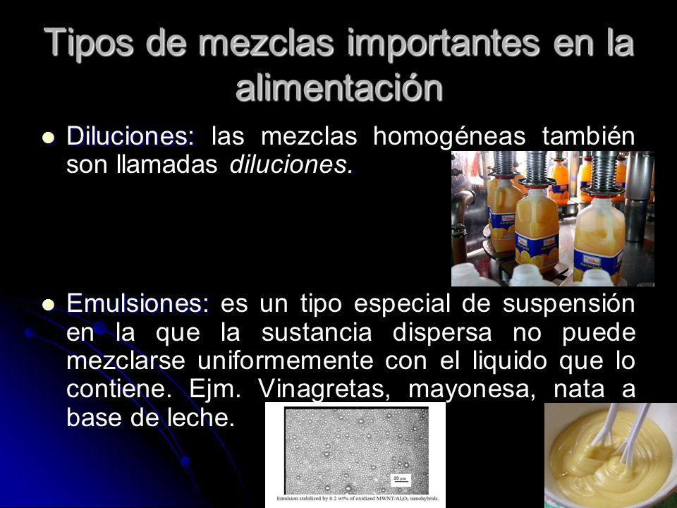 Tipos de mezclas importantes en la alimentación