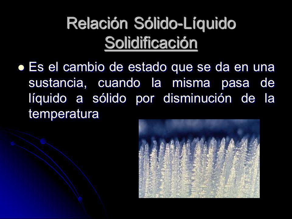 Relación Sólido-Líquido Solidificación