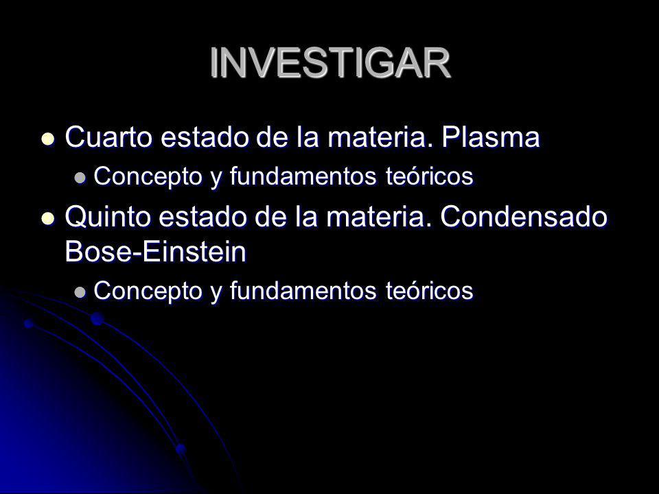 INVESTIGAR Cuarto estado de la materia. Plasma