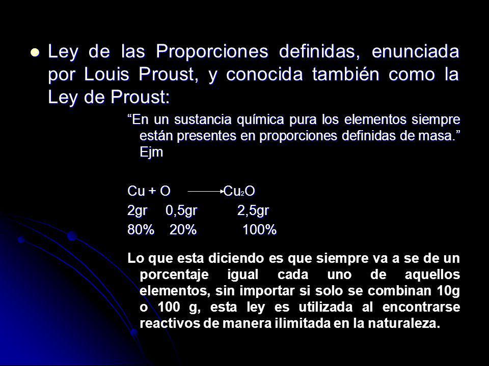 Ley de las Proporciones definidas, enunciada por Louis Proust, y conocida también como la Ley de Proust: