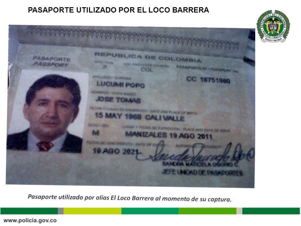 PASAPORTE UTILIZADO POR EL LOCO BARRERA
