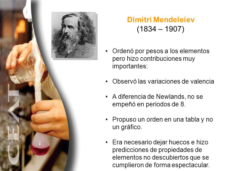 Dimitri Mendeleiev (1834 – 1907)