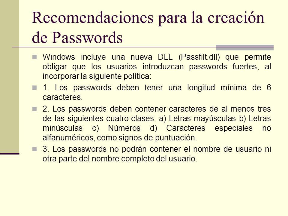 Recomendaciones para la creación de Passwords