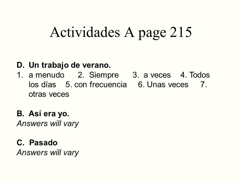 Actividades A page 215 Un trabajo de verano.