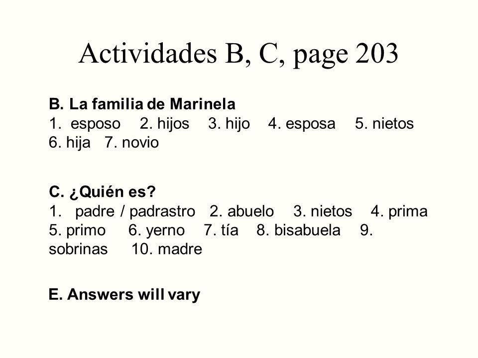 Actividades B, C, page 203 B. La familia de Marinela