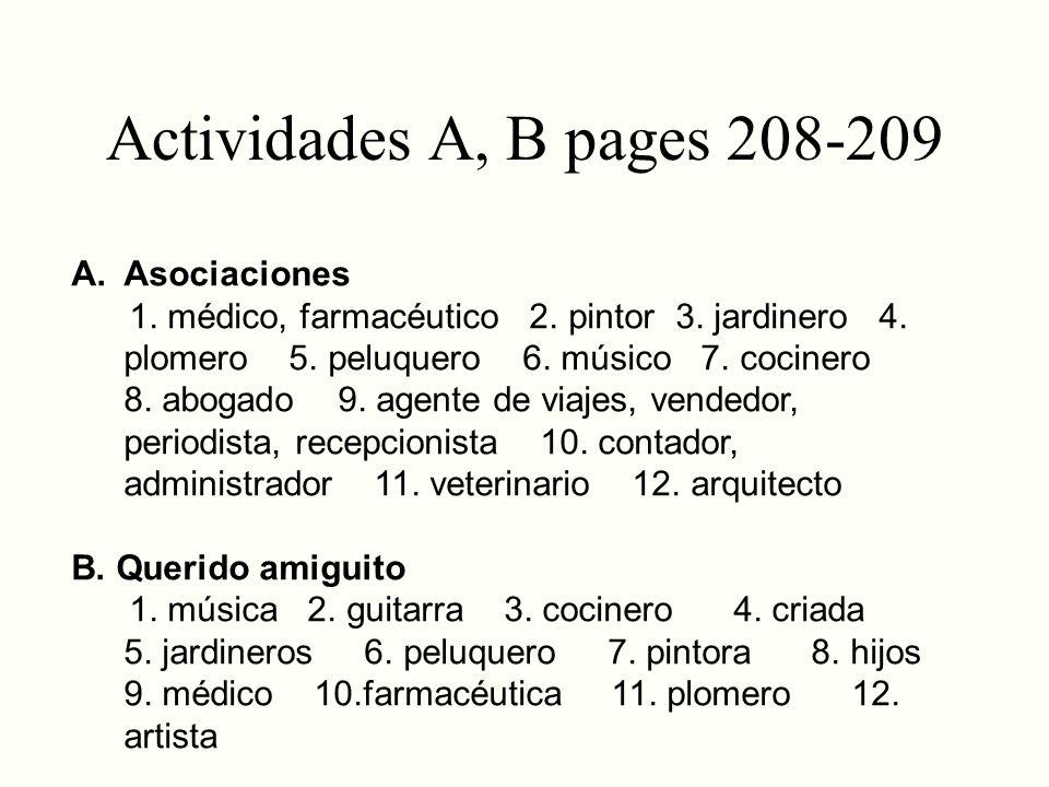 Actividades A, B pages 208-209 Asociaciones