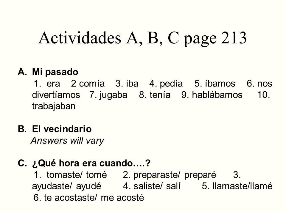 Actividades A, B, C page 213 Mi pasado