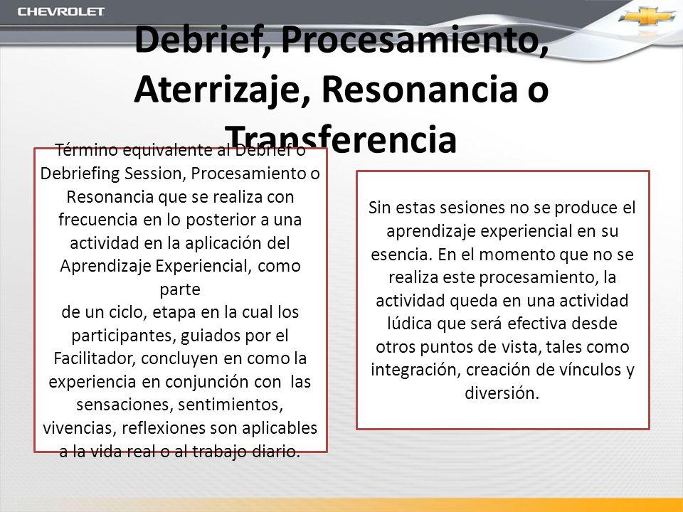 Debrief, Procesamiento, Aterrizaje, Resonancia o Transferencia