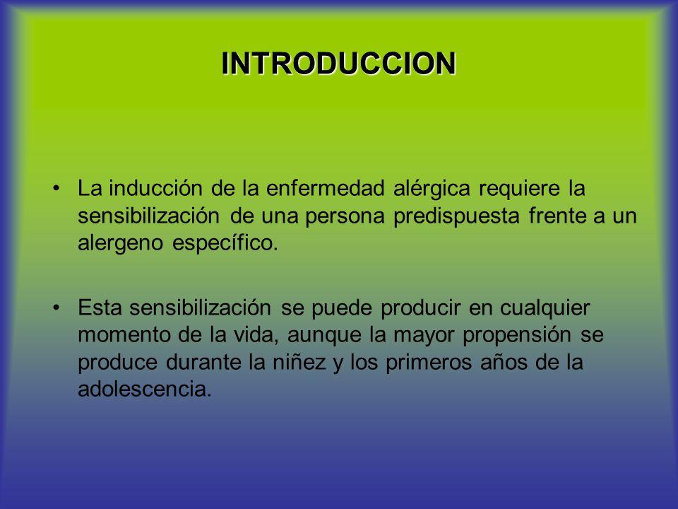 INTRODUCCION La inducción de la enfermedad alérgica requiere la sensibilización de una persona predispuesta frente a un alergeno específico.
