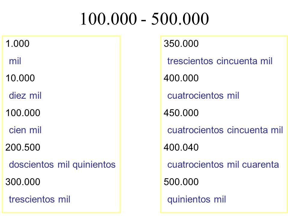 100.000 - 500.000 1.000. mil. 10.000. diez mil. 100.000. cien mil. 200.500. doscientos mil quinientos.
