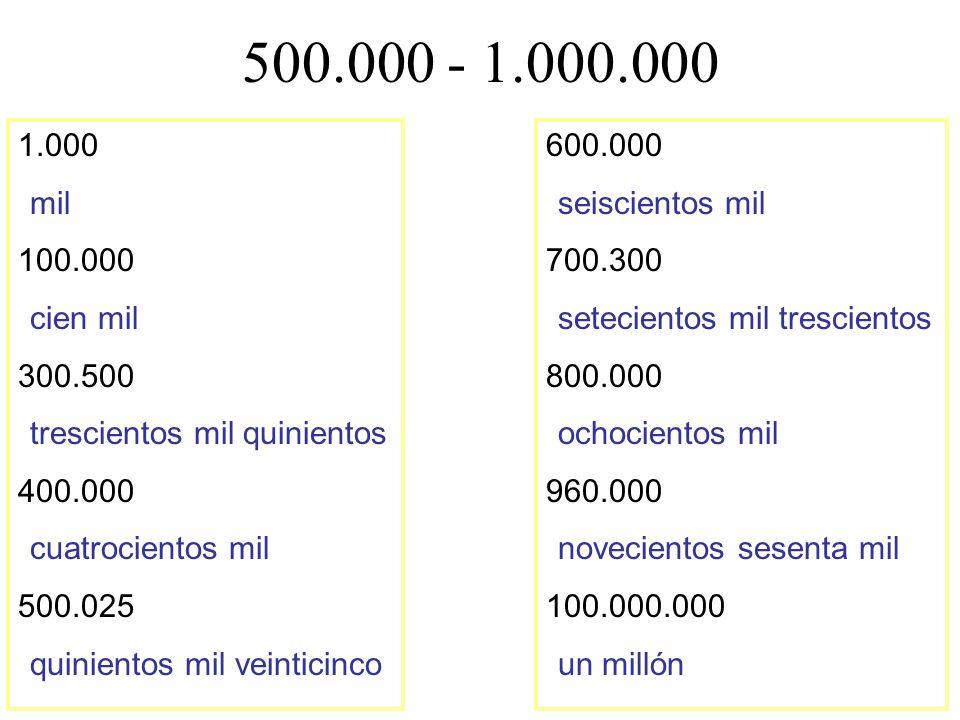 500.000 - 1.000.000 1.000. mil. 100.000. cien mil. 300.500. trescientos mil quinientos. 400.000.