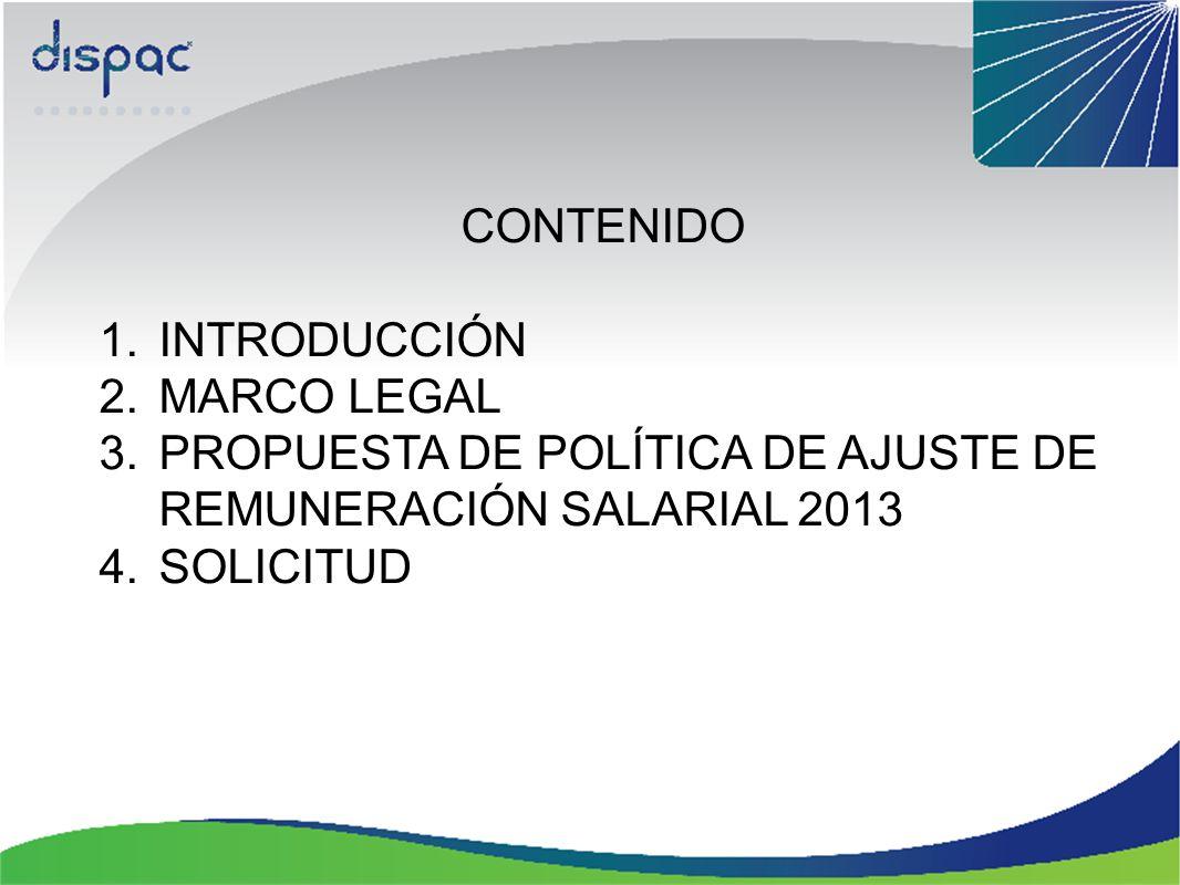CONTENIDO INTRODUCCIÓN. MARCO LEGAL. PROPUESTA DE POLÍTICA DE AJUSTE DE REMUNERACIÓN SALARIAL 2013.