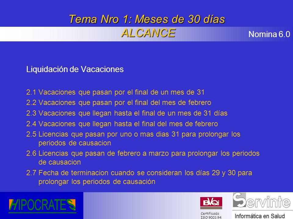 Tema Nro 1: Meses de 30 días ALCANCE