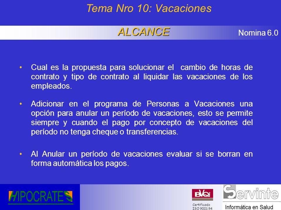 Tema Nro 10: Vacaciones ALCANCE