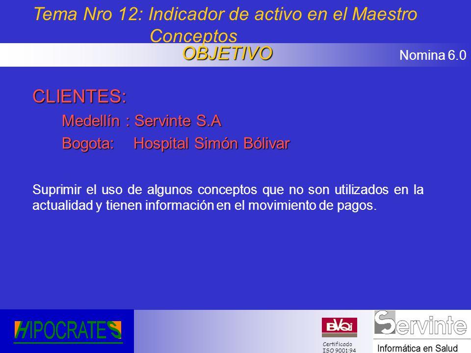 Tema Nro 12: Indicador de activo en el Maestro Conceptos