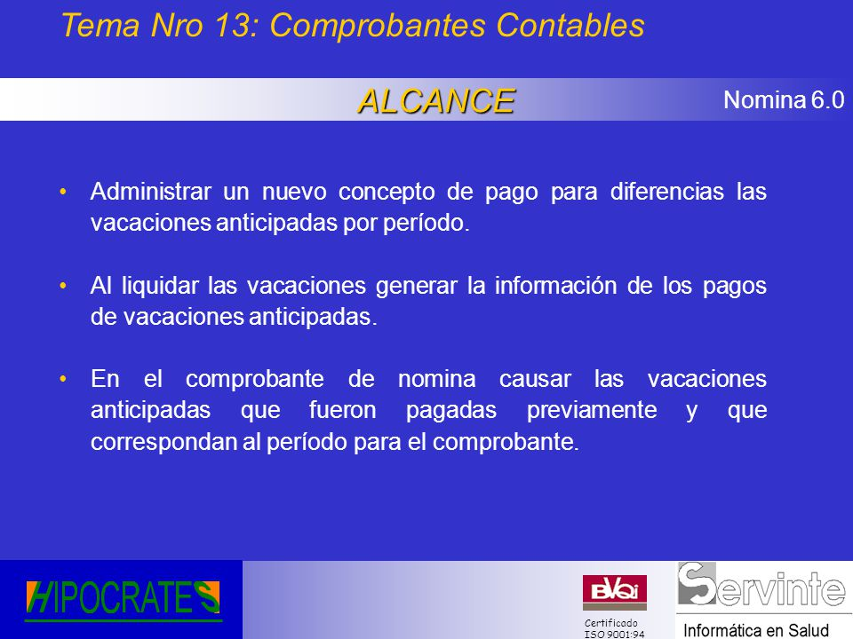 Tema Nro 13: Comprobantes Contables