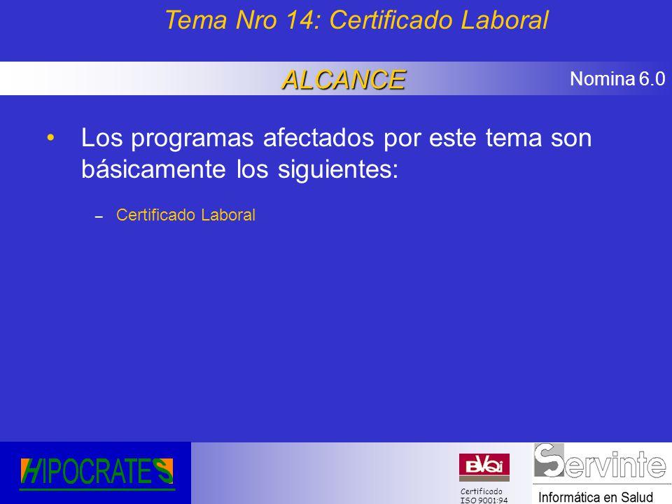 Tema Nro 14: Certificado Laboral