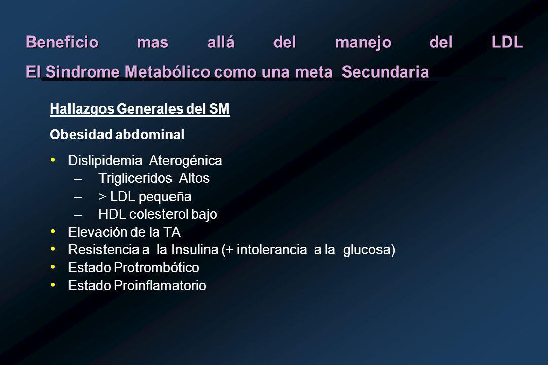 Beneficio mas allá del manejo del LDL El Sindrome Metabólico como una meta Secundaria