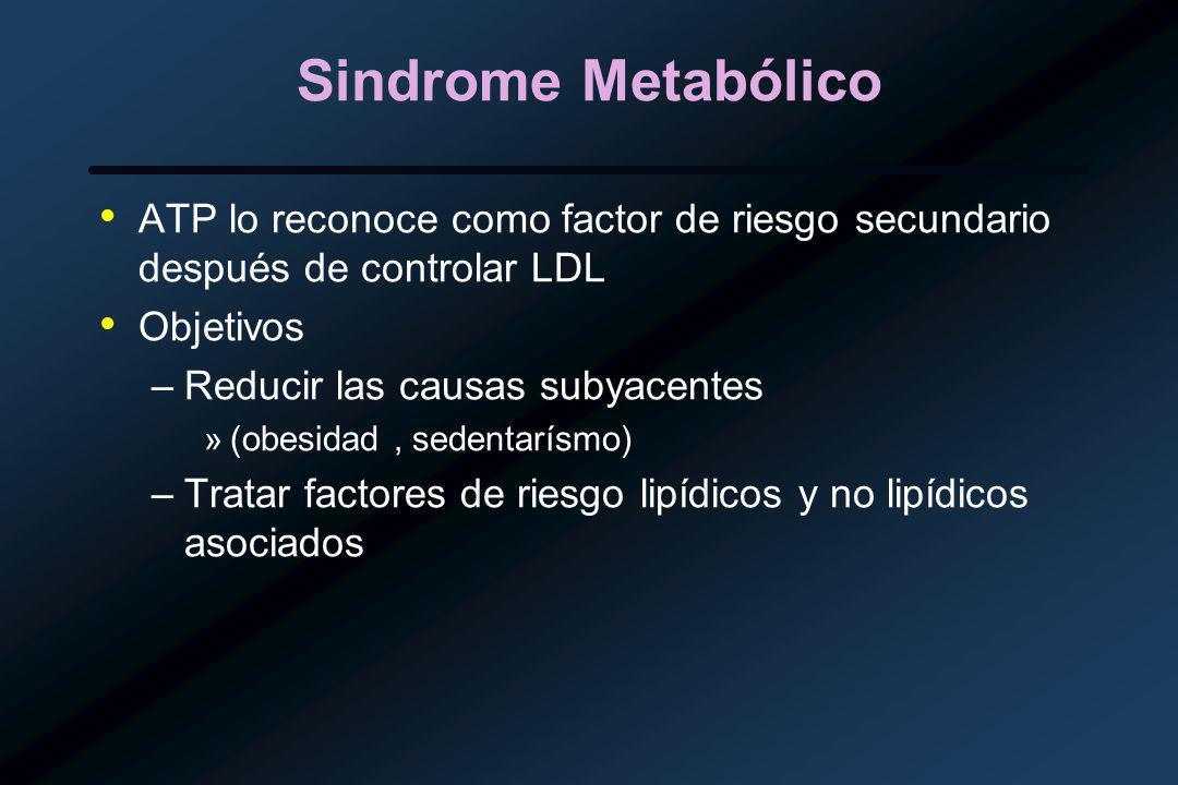 Sindrome Metabólico ATP lo reconoce como factor de riesgo secundario después de controlar LDL. Objetivos.