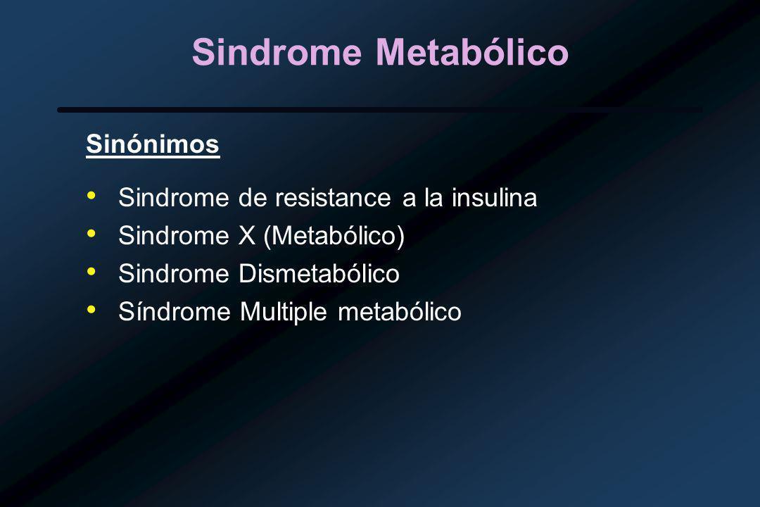 Sindrome Metabólico Sinónimos Sindrome de resistance a la insulina
