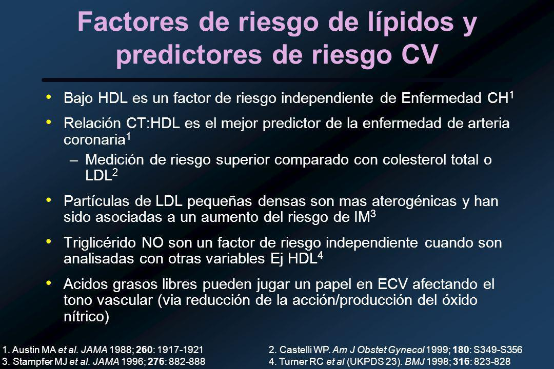Factores de riesgo de lípidos y predictores de riesgo CV