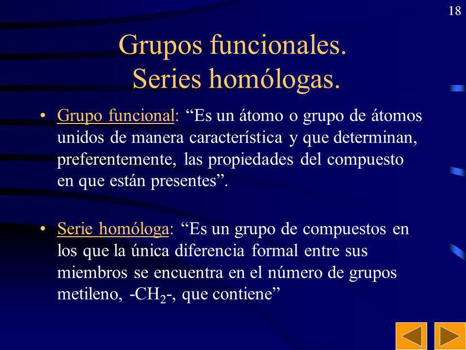 Grupos funcionales. Series homólogas.