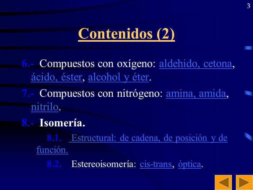 Contenidos (2) 6.- Compuestos con oxígeno: aldehido, cetona, ácido, éster, alcohol y éter. 7.- Compuestos con nitrógeno: amina, amida, nitrilo.