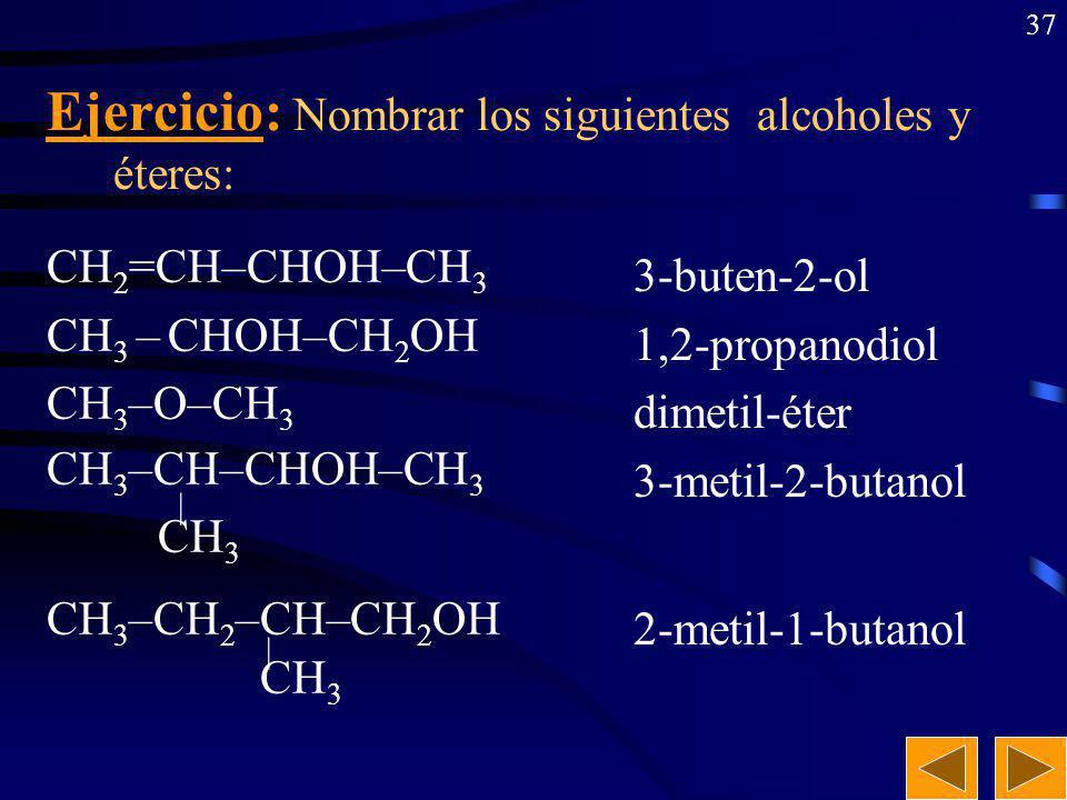 Ejercicio: Nombrar los siguientes alcoholes y éteres: