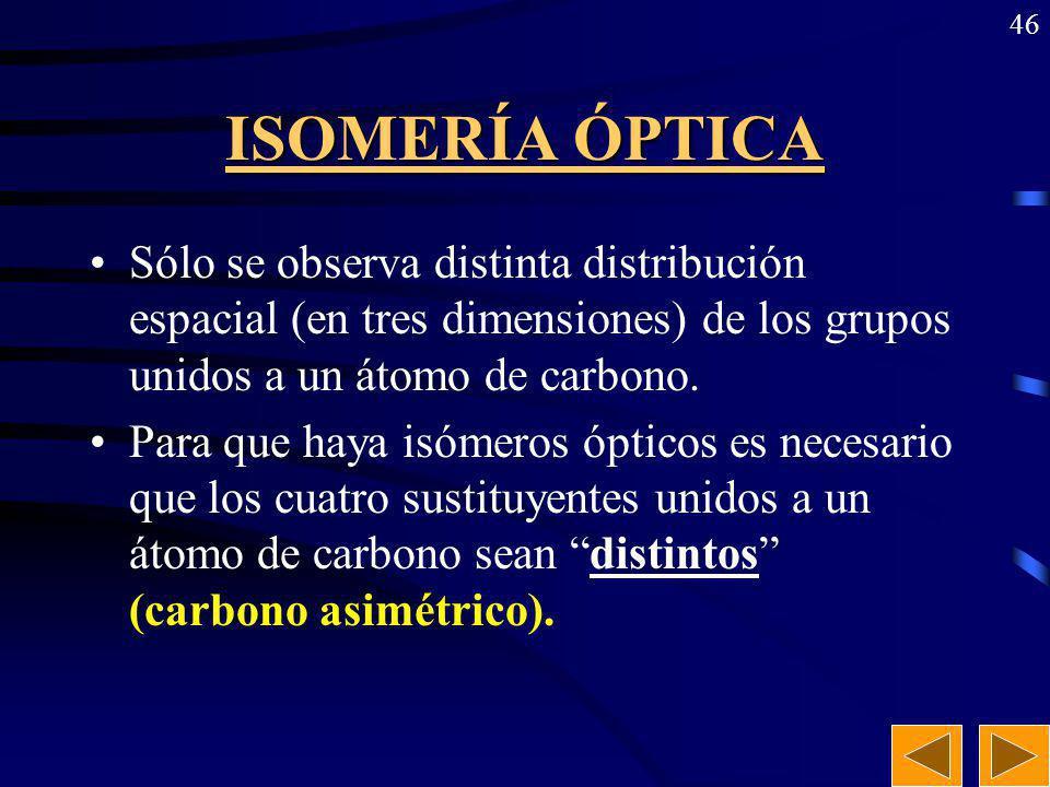 ISOMERÍA ÓPTICA Sólo se observa distinta distribución espacial (en tres dimensiones) de los grupos unidos a un átomo de carbono.