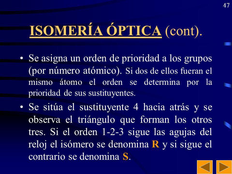 ISOMERÍA ÓPTICA (cont).