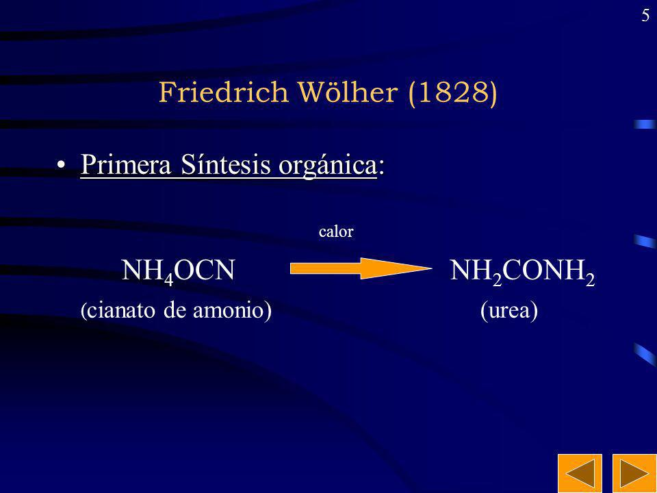 Friedrich Wölher (1828) Primera Síntesis orgánica: calor NH4OCN NH2CONH2 (cianato de amonio) (urea)